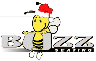 Buzz Seating logo, bee with Santa hat