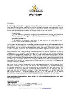 Buzz Seating Warranty