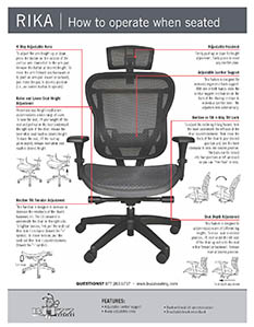 Operating Instructions - Rika Chair With Mesh Seat