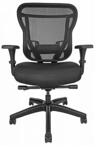 Rika office chair with mesh back, black upholstered seat, and wheels