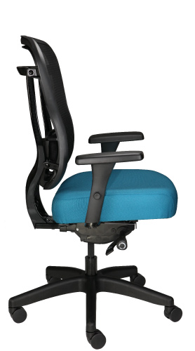 Rika task chair with mesh back and fabric seat, shown in teal, side view