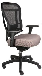 Rika mesh back chair with peach fabric seat, front angle view
