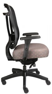 Rika mesh back chair with fabric seat, side view