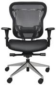 Rika office chair with mesh back and black leather seat