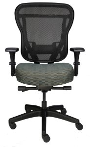 RIka Chair with gray fabric seat and black mesh back