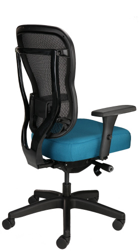 Rika rolling office chair with mesh back and upholstered seat, shown in teal, back angle view