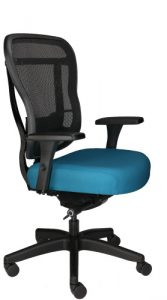 Rika office chair with mesh back, teal upholstered seat, and wheels, front angle view