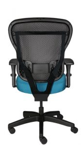 Rika task chair with mesh back, teal fabric seat, and wheels, back view