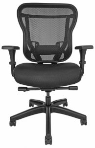 Rika task chair with mesh back, upholstered black seat, and wheels