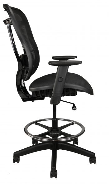 Rika black mesh stool, side view