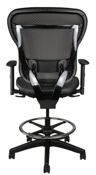 Rika black mesh stool, back view