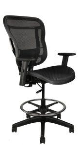 Rika black mesh stool, front angle view