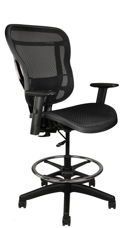 Rika black mesh stool, front angle