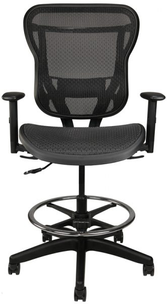 Rika Stool with arms and black mesh back and seat