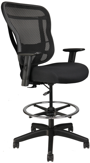 RIka Stool with fabric seat, front angle view